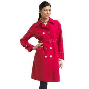 ISAAC MIZRAHI LIVE RED TRENCH COAT XS